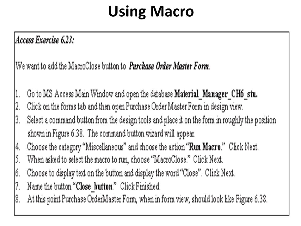 Using Macro