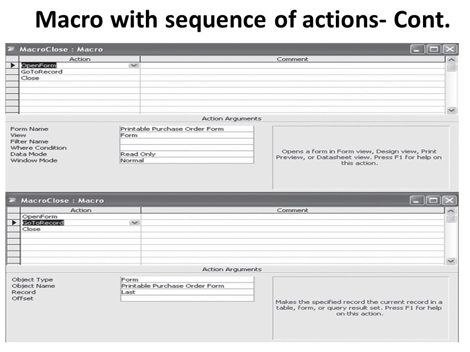 Macro with sequence of actions- Cont.