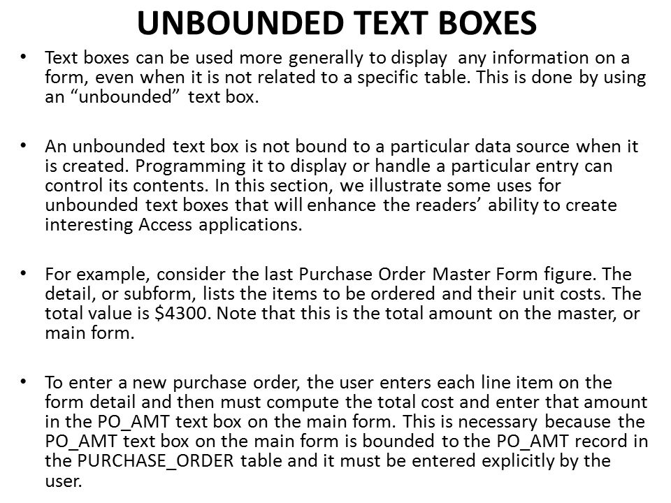 UNBOUNDED TEXT BOXES
