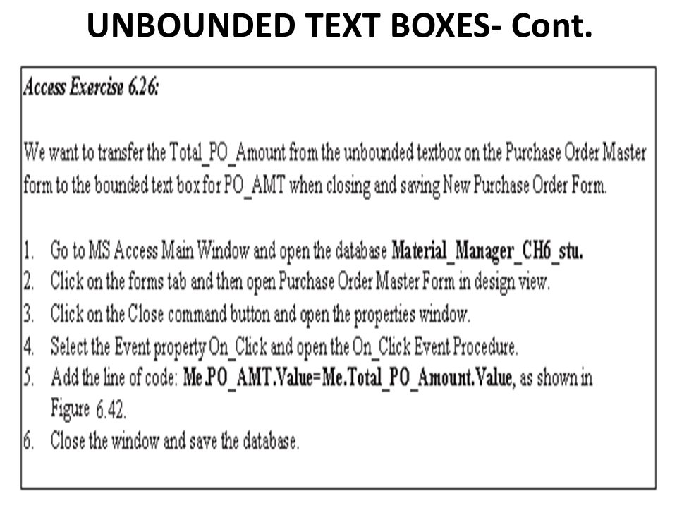UNBOUNDED TEXT BOXES- Cont.