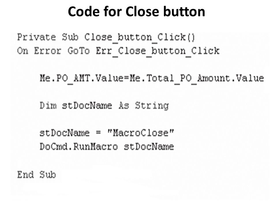 Code for Close button