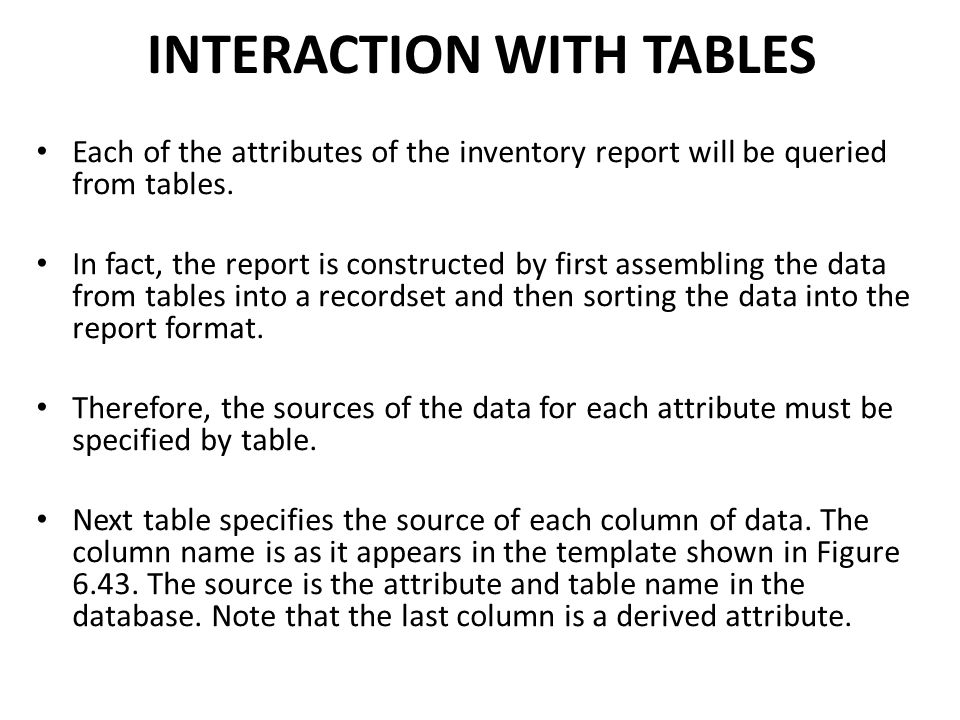 INTERACTION WITH TABLES