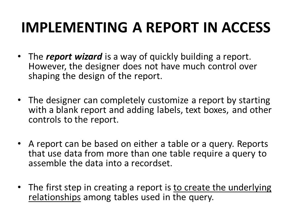 IMPLEMENTING A REPORT IN ACCESS