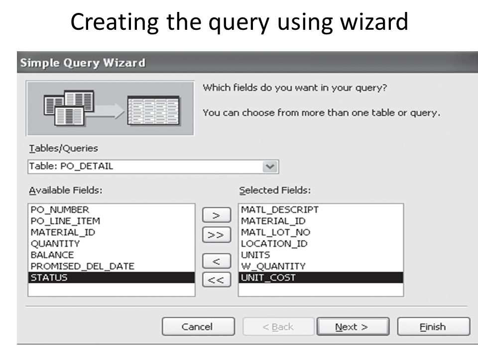 Creating the query using wizard
