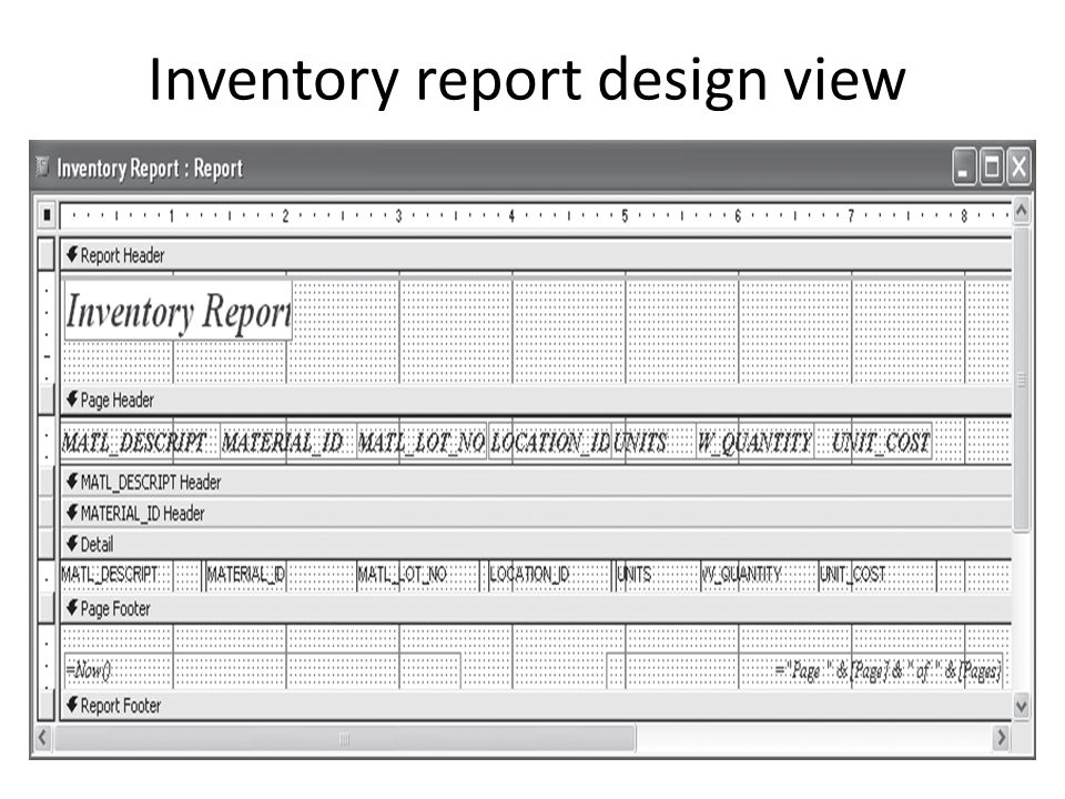 Inventory report design view