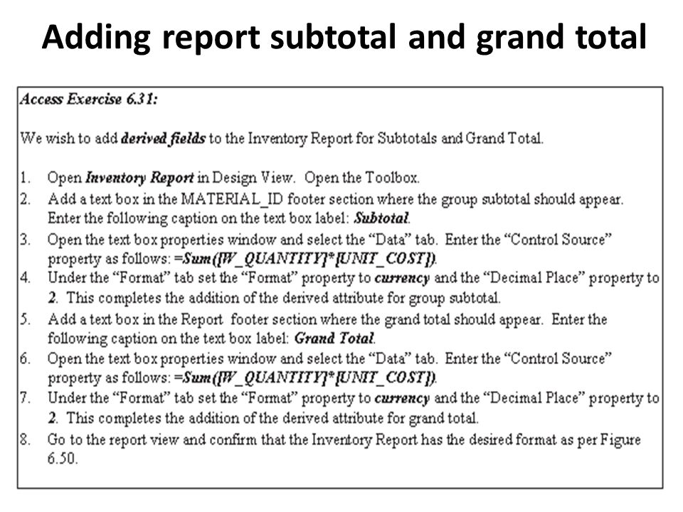 Adding report subtotal and grand total