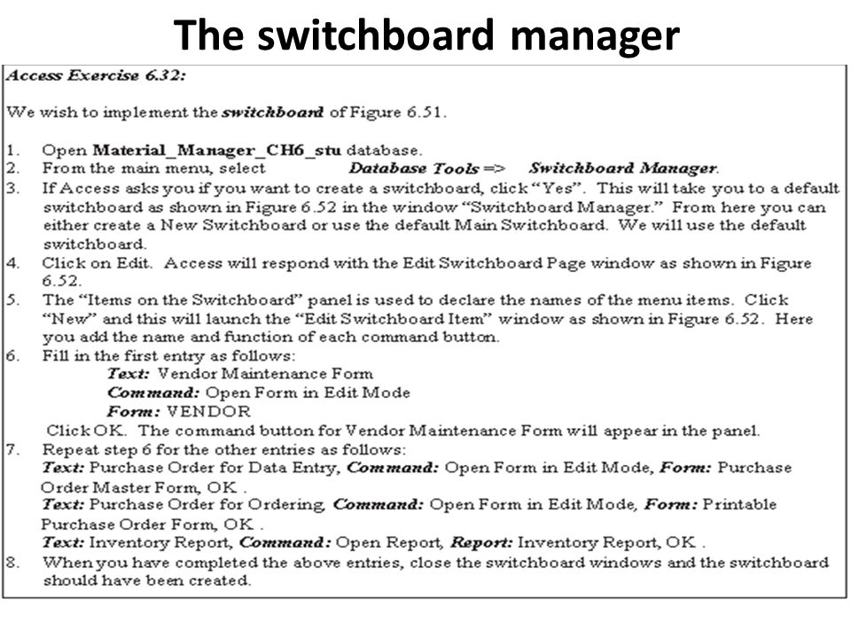 The switchboard manager