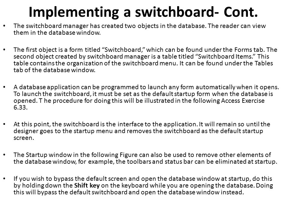 Implementing a switchboard- Cont.