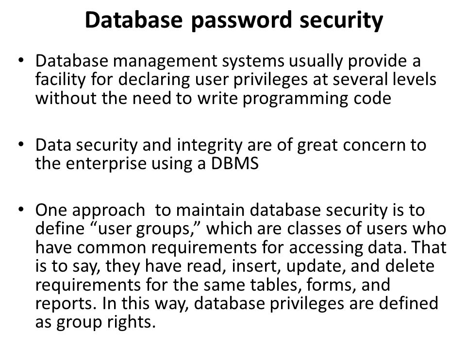 Database password security