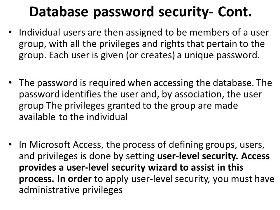 Database password security- Cont.