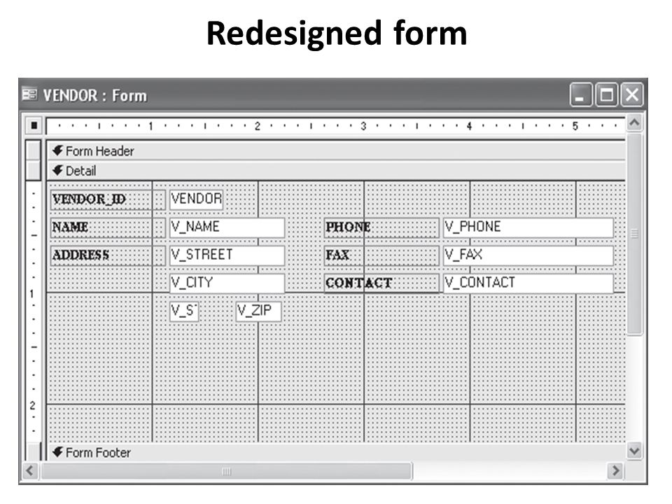Redesigned form