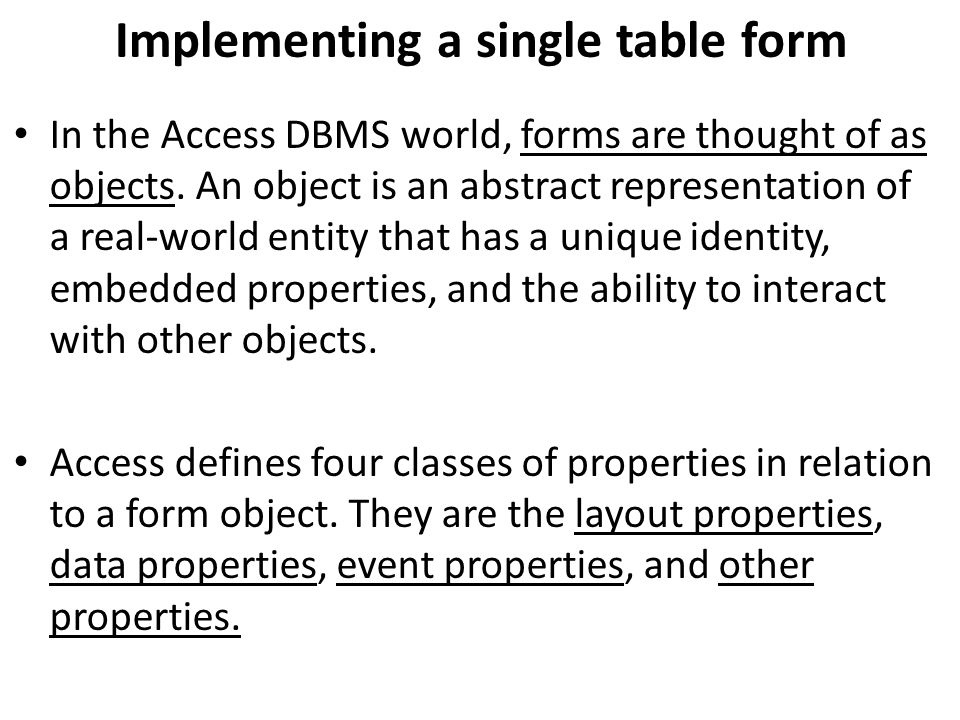 Implementing a single table form