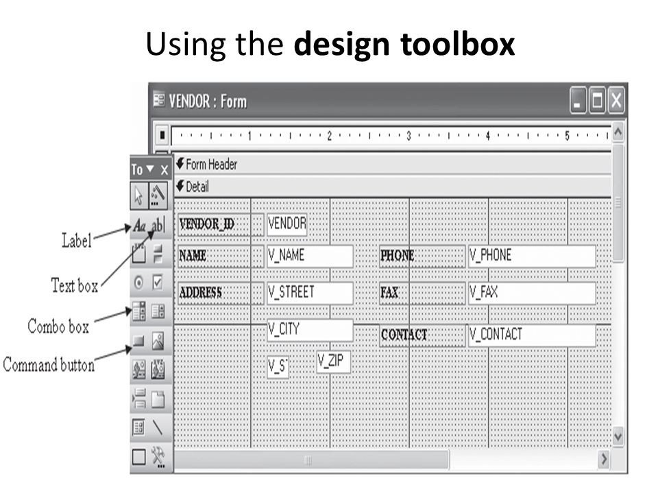 Using the design toolbox