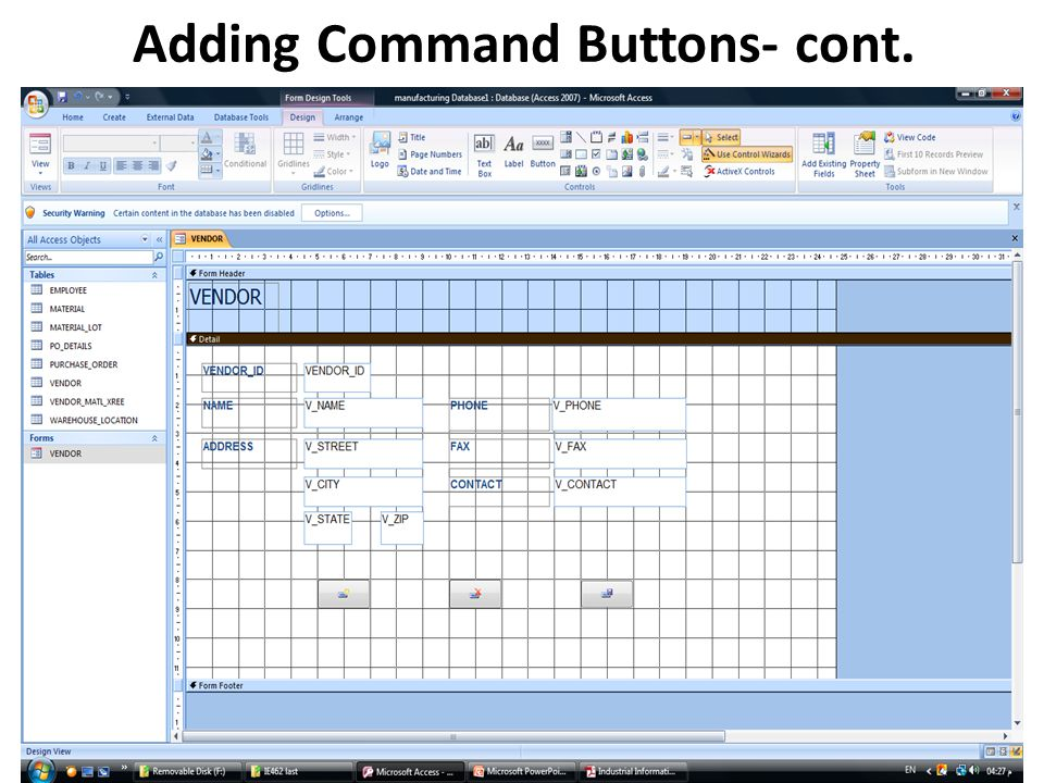 Adding Command Buttons- cont.