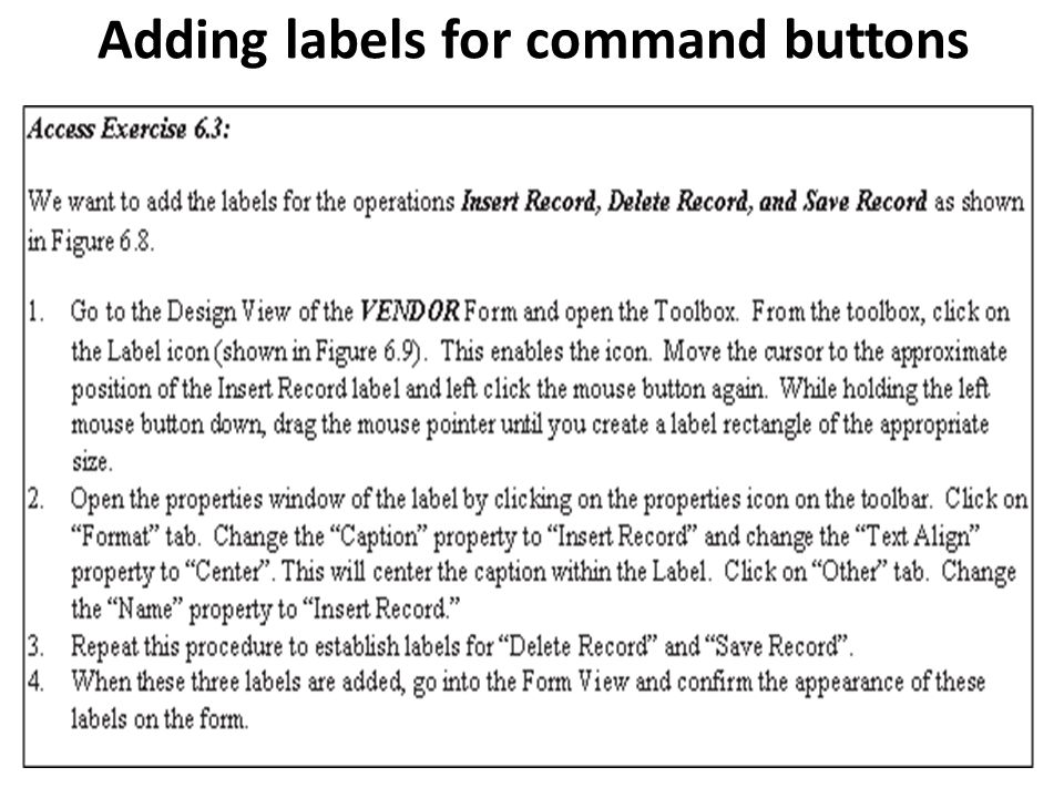 Adding labels for command buttons
