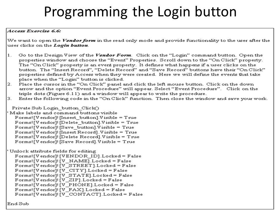 Programming the Login button