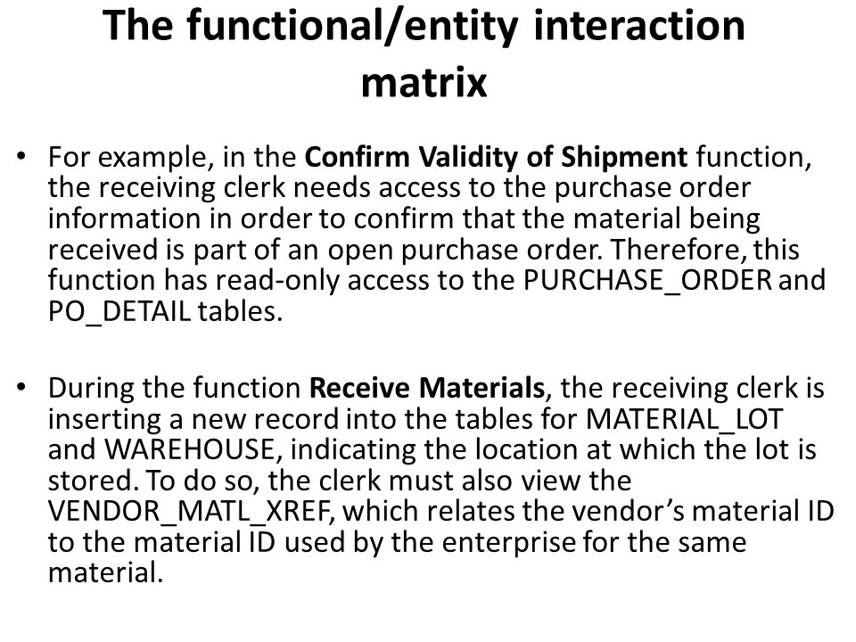 The functional/entity interaction matrix