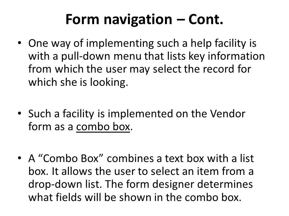 Form navigation – Cont.