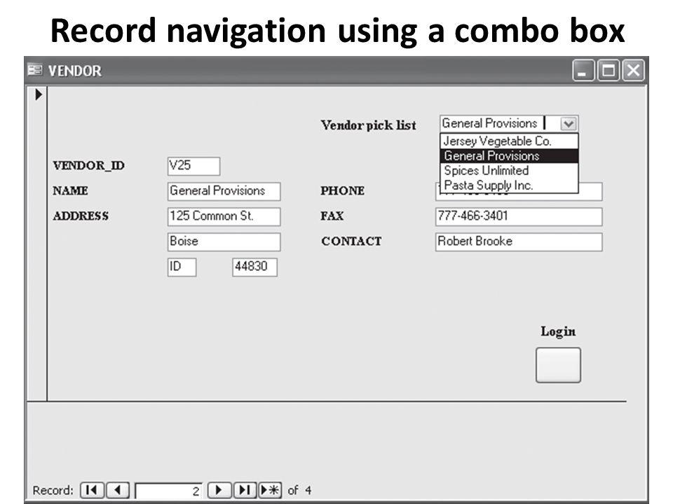 Record navigation using a combo box