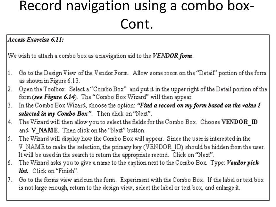 Record navigation using a combo box- Cont.