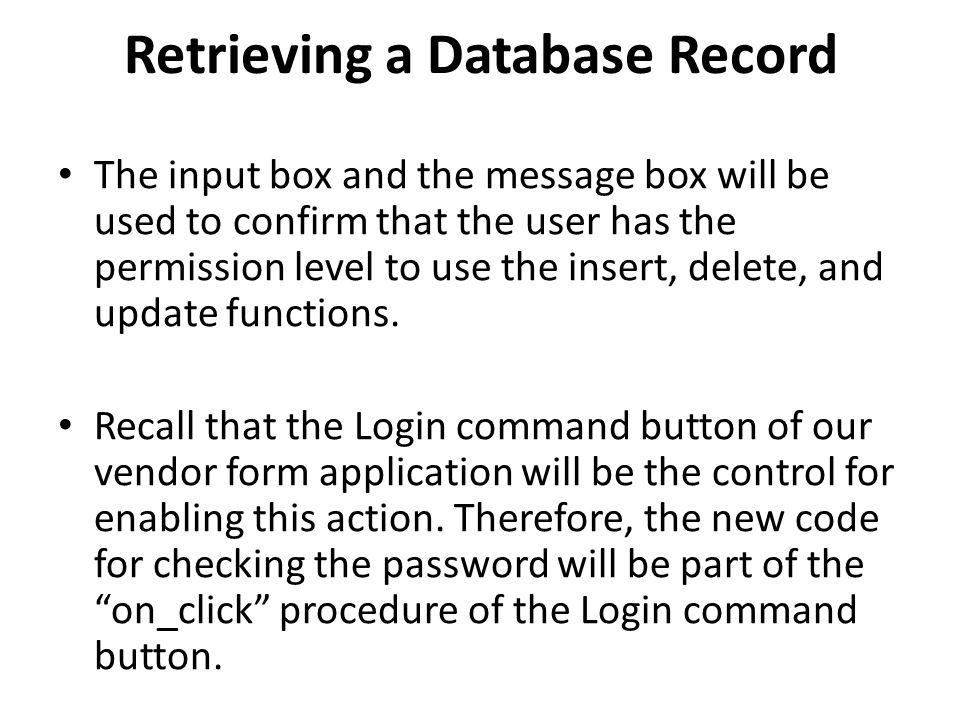 Retrieving a Database Record