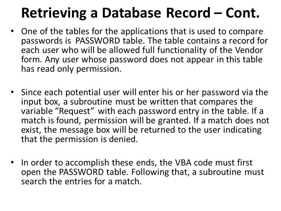 Retrieving a Database Record – Cont.