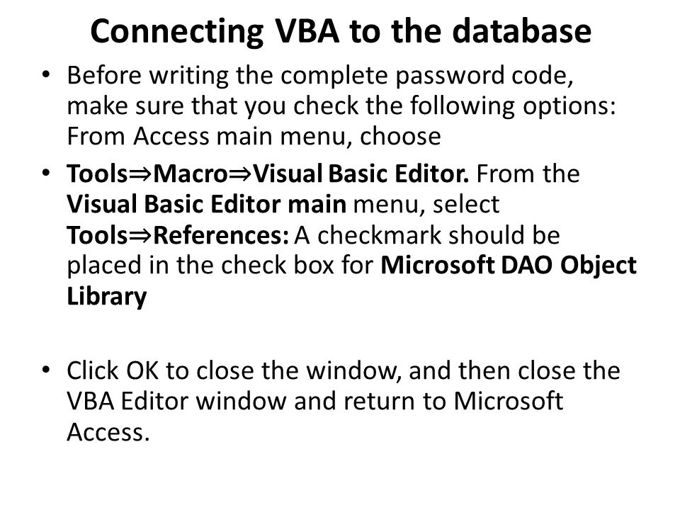 Connecting VBA to the database