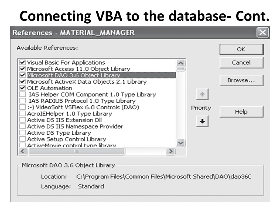 Connecting VBA to the database- Cont.