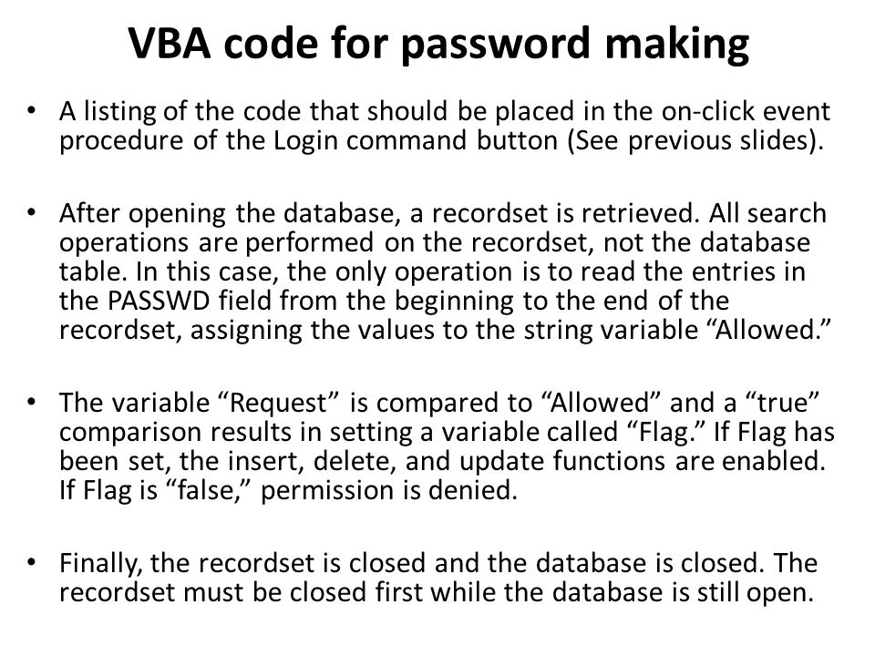 VBA code for password making