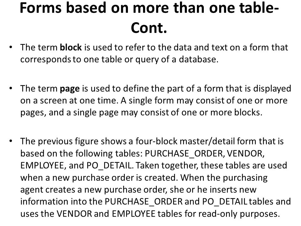 Forms based on more than one table- Cont.