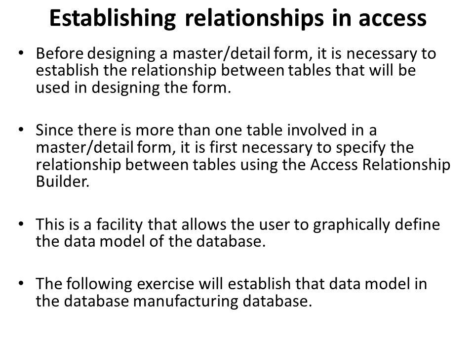 Establishing relationships in access