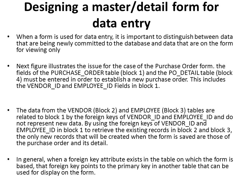 Designing a master/detail form for data entry