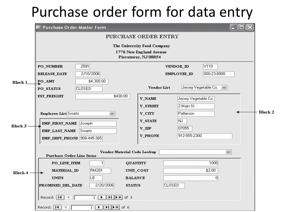 Purchase order form for data entry