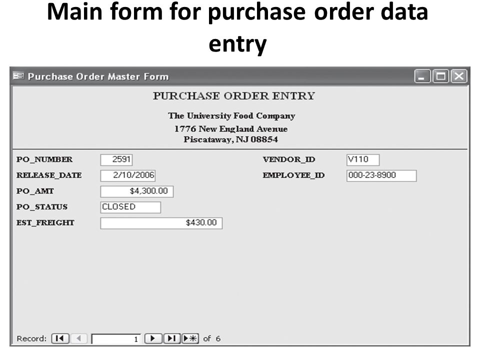 Main form for purchase order data entry