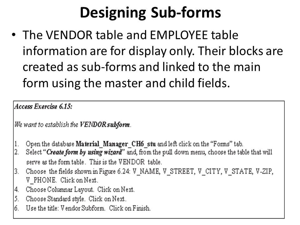 Designing Sub-forms