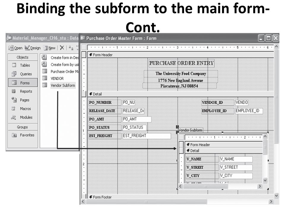 Binding the subform to the main form-Cont.