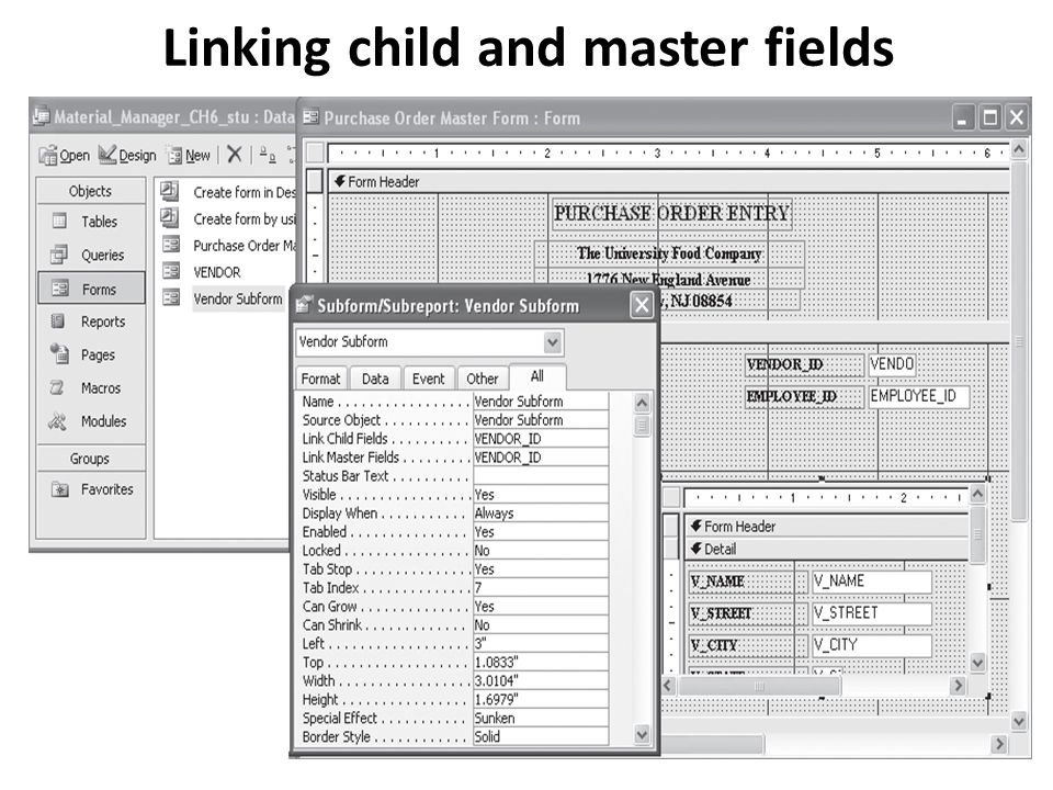 Linking child and master fields