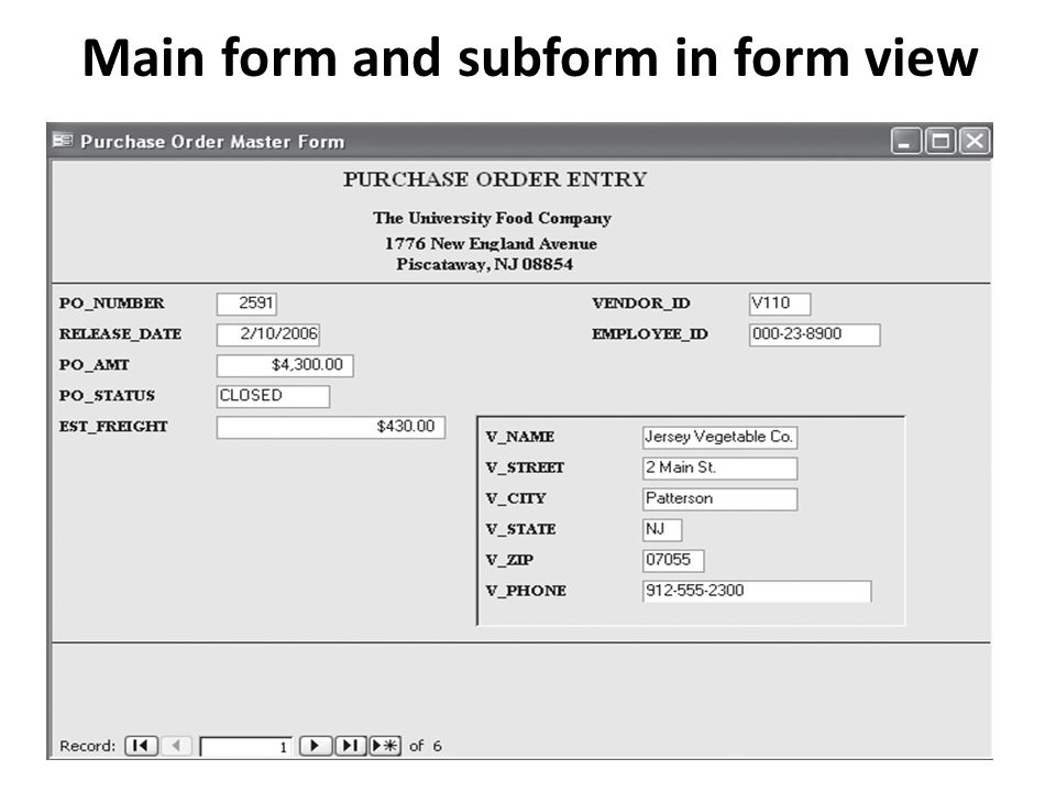Main form and subform in form view
