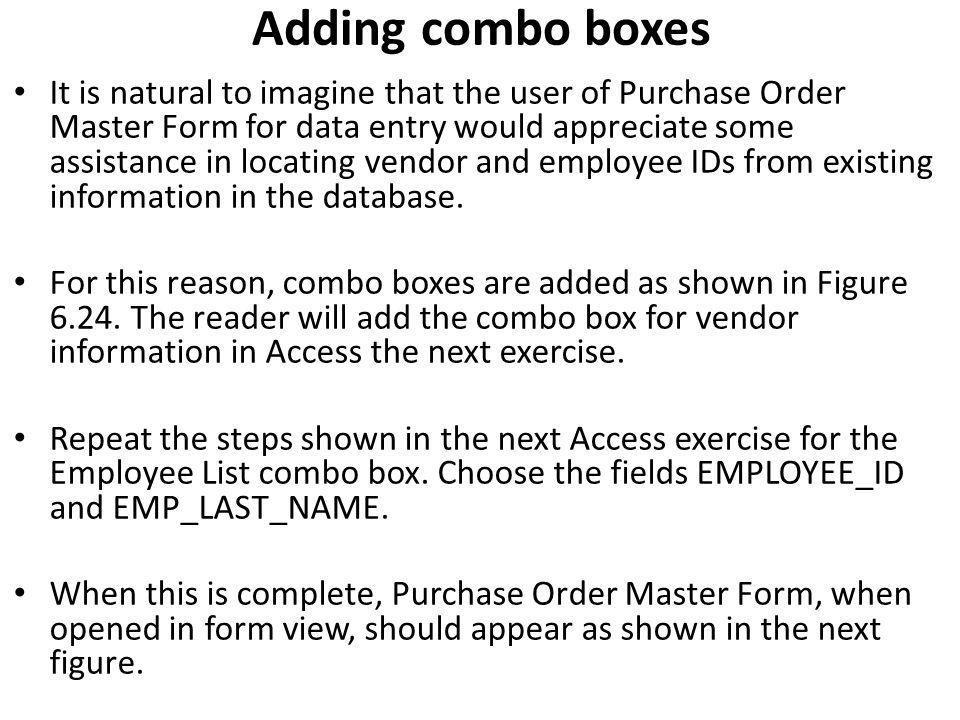 Adding combo boxes