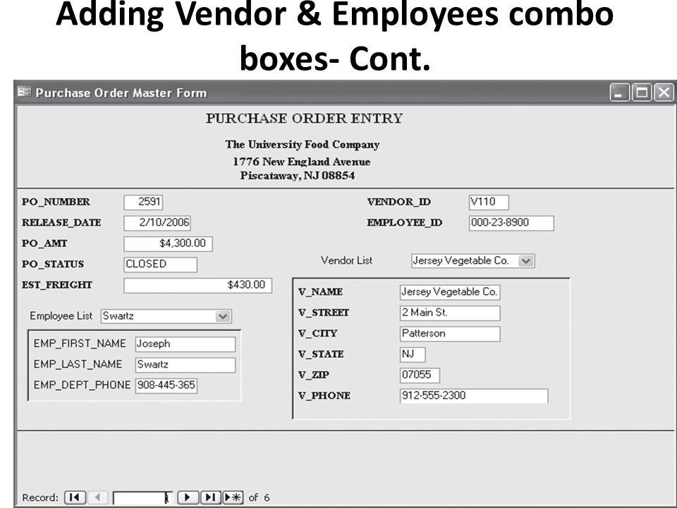 Adding Vendor & Employees combo boxes- Cont.