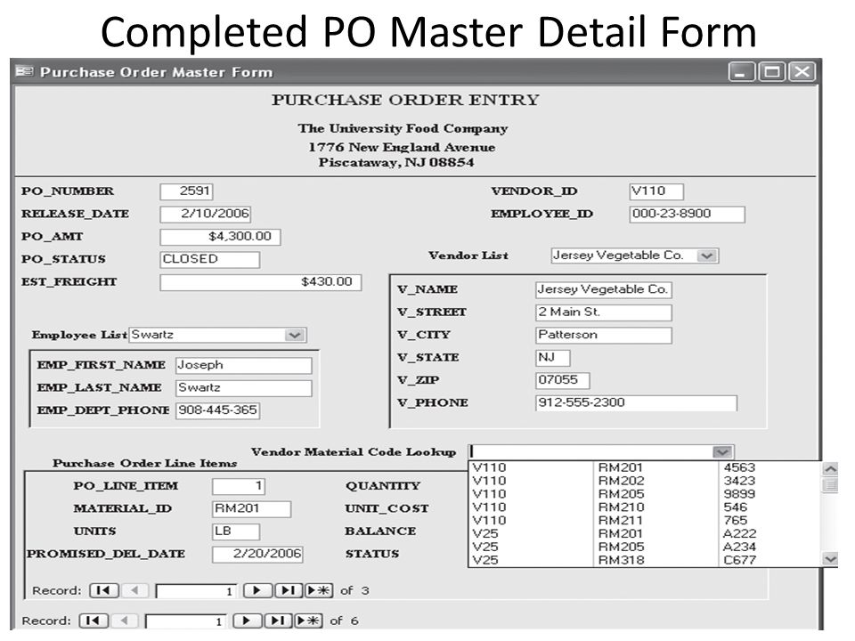 Completed PO Master Detail Form