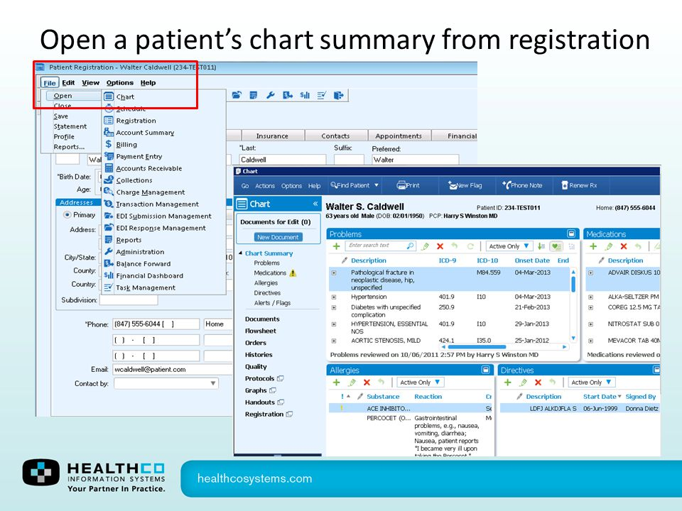 Open a patient's chart summary from registration
