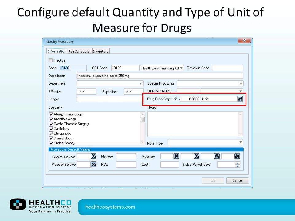 Configure default Quantity and Type of Unit of