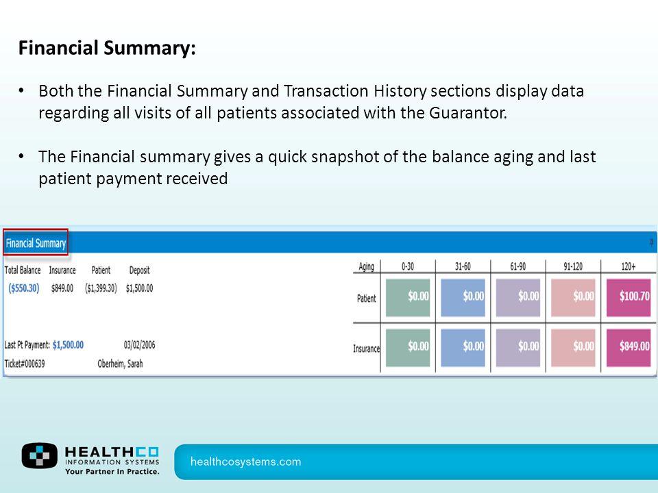 Financial Summary: