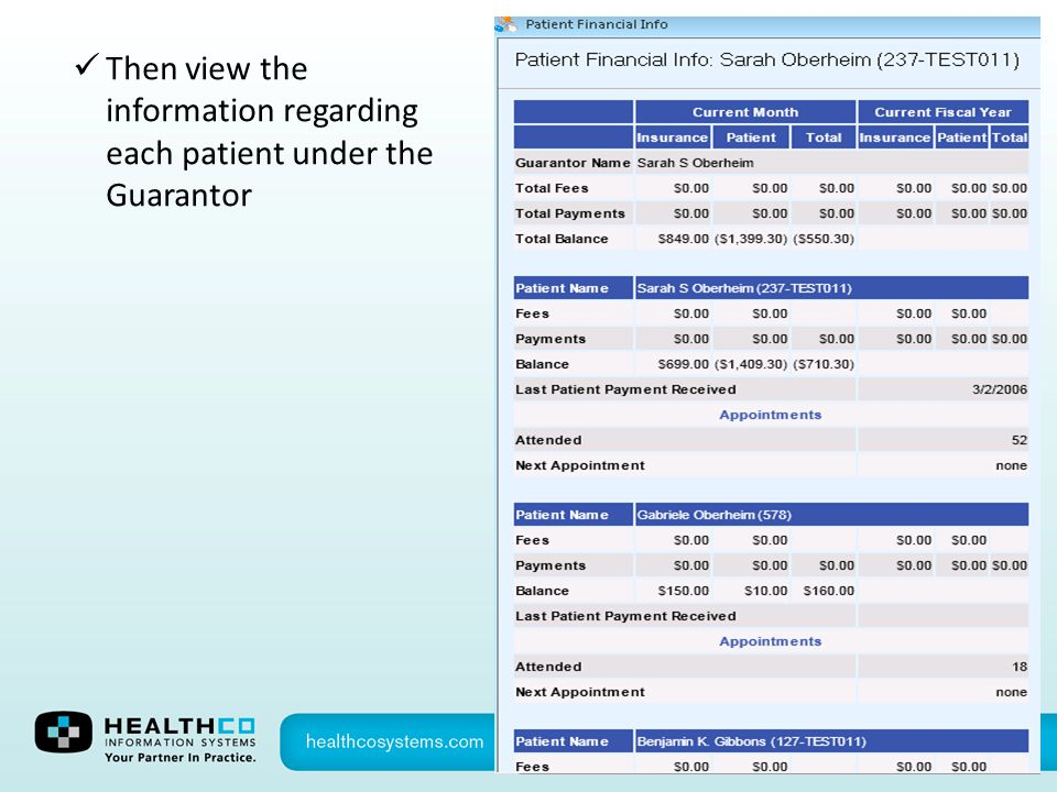 Then view the information regarding each patient under the Guarantor