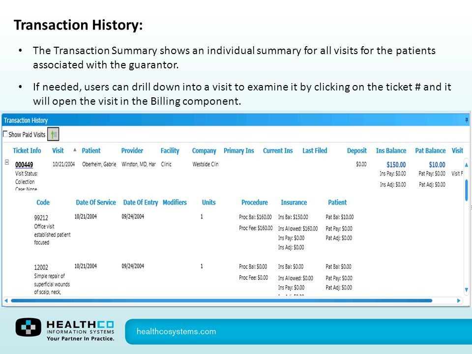 Transaction History: The Transaction Summary shows an individual summary for all visits for the patients associated with the guarantor.