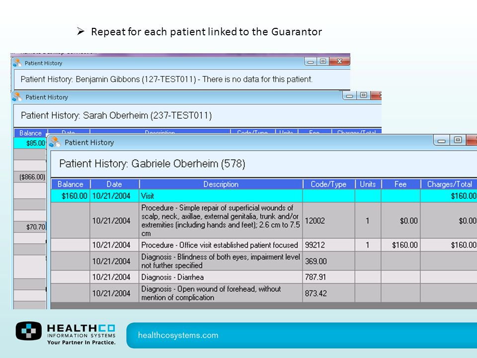 Repeat for each patient linked to the Guarantor