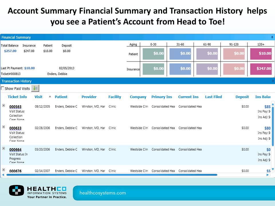 Account Summary Financial Summary and Transaction History helps you see a Patient's Account from Head to Toe!