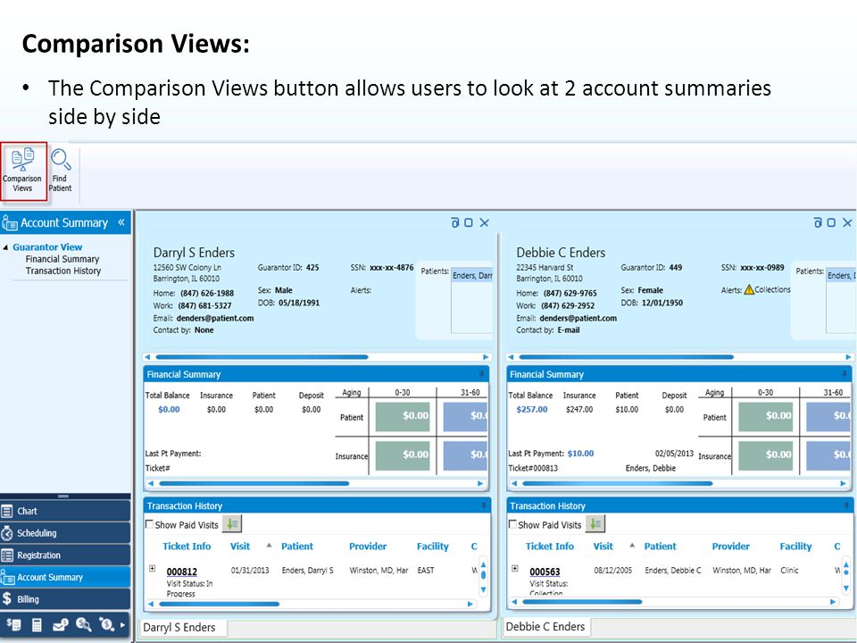 Comparison Views: The Comparison Views button allows users to look at 2 account summaries side by side.