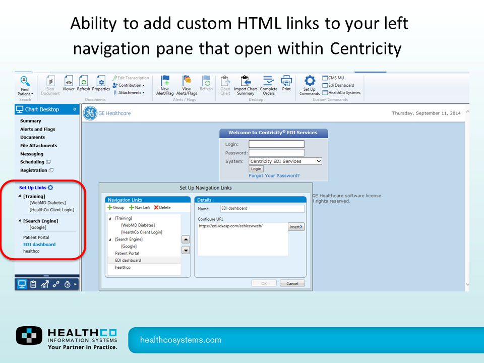 Ability to add custom HTML links to your left